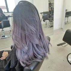 Ombre in lavender ash tones! Played with violet fantasy colors mixed with their ashes . Lavender Hair Colors, Hair Dye Colors, Cool Hair Color, Ash Purple Hair, Lilac Hair, Balayage Hair, Ombre Hair, Korean Hair Color, Ulzzang Hair