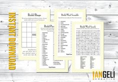 Bridal Shower Games 4Pack Instant Download by IANGELI on Etsy, $10.00