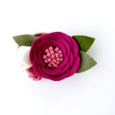 Felt flower nylon headband dark and light pink by TreasuredPeach