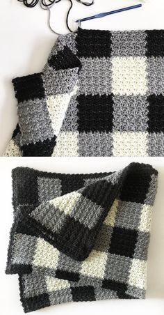 Crochet Afghan Patterns Crochet Black Gingham Blanket - Free Pattern - Who knew that making crochet look like a gingham pattern could be so simple? This crochet griddle stitch gingham blanket is simple once you learn to carry Crochet Afghans, Motifs Afghans, Afghan Crochet Patterns, Knit Or Crochet, Crochet Crafts, Crochet Stitches, Free Crochet, Knitting Patterns, Crochet Blankets