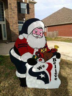 Christmas Yard Art   Houston Texans Christmas Santa Yard Decor by BayouBlingCreations