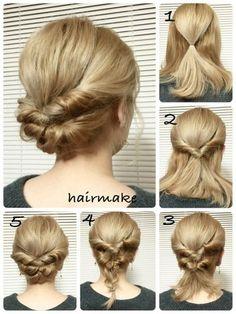 上の部分だけ結んでくるりんぱ、残りの髪も結んでくるりんぱ。くるりんぱした後は、余った髪を三つ編みにします。最後にもう1度くるりんぱすれば完成♪華やかさもありながらきちんと感もあるヘアスタイルです。