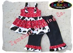 Girl Cow Outfit Custom Boutique Clothing Cow by ZamakerrClothingCo, 47.99