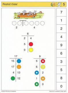 Soubor Logico Piccolo Začínáme počítat - Čísla do 20, část 2 Soubor obsahuje 16 hracích karet, vždy s 10 úkoly. Karta se zasune do rámečku a barevné knoflíky se
