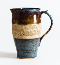 Medium Sized Ceramic Pitcher Stoneware Pottery by RuegerPottery, $36.99