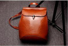 Genuine Leather Backpacks Preppey Style School Bag for Girls Vintage Brown Travel Bag Women Double Shoulder feminine backpack