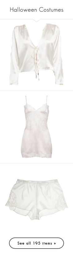 """Halloween Costumes"" by harrypotternextgeneration ❤ liked on Polyvore featuring tops, shirts, blouses, intimates, chemises, dresses, lingerie, underwear, floral white and lace trim cami"