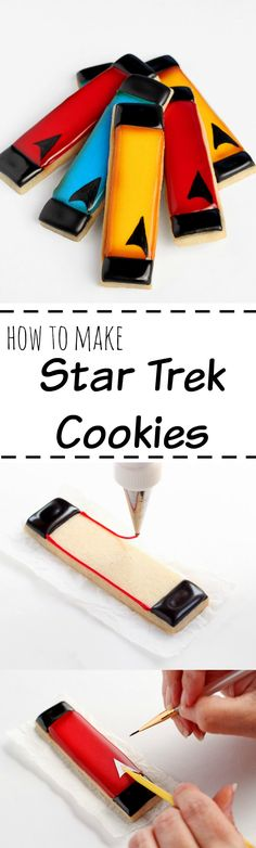 You don't need fancy cookie cutters to make cute cookies. Just cut some long rectangle with a pizza cutter and make some simple Star Trek Cookies. Fancy Cookies, Iced Cookies, Cut Out Cookies, Cute Cookies, Sugar Cookies, Star Trek Cake, Star Trek Party, Star Wars, Macarons