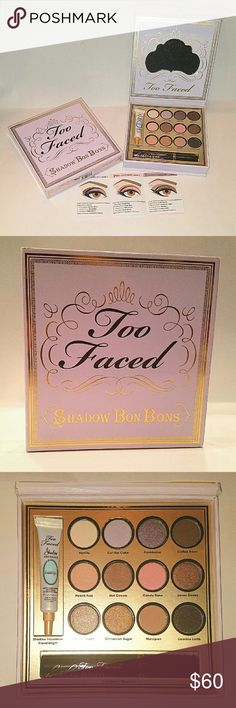 Too Faced Shadow Bon Bons Palette - Holiday 2013 This is NOT the Chocolate Bon Bons palette.  - 12 shades, mostly neutrals with a couple pinks. Shadows are 0.85g / 0.03 oz each. - There are two sizes of TF mini primers, this is the larger one, 5g/0.17 oz. Candlelight has the same formula as the original, plus champagne shimmer. - Full size LashGasm mascara. - Paper insert with directions for three looks that can be done with the palette Too Faced Makeup Eyeshadow