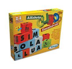 0285.4 - Cubos Encaixáveis Alfabeto  | Com 24 peças de plástico. | Faixa etária: + 4 anos | Medidas: 26 x 5 x 20,5 cm | Educativos | Xalingo Brinquedos | Crianças