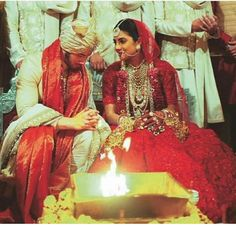 Dec, Priyanka Chopra n Nick Jonas tie the knot; Priyanka Chopra wore a red Sabyasachi lehenga for the Indian wedding ceremony and Nick Jonas a golden sherwani, at Jodhpur's Umaid Bhawan Palace in Rajasthan. Beautiful Indian Destination Wedding of ❤ in in Indian Bridal Fashion, Bridal Fashion Week, Bridal Looks, Bridal Style, Priyanka Chopra Wedding, Indian Destination Wedding, Indian Weddings, Hindu Wedding Ceremony, Indian Marriage