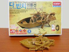 DA VINCI PADDLE BOAT Model Kits Academy Windup Assembly Plastic Toy Educational