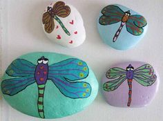 Lady dragons - painted rocks