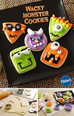 A fun Halloween activity for the whole family! Decorate these Wacky Monster Cookies by combining sweetness and silliness. This recipe is easy to make with your kids. You could even make these treats for a cute and creepy party food too! Halloween Snacks, Theme Halloween, Halloween Goodies, Halloween Activities, Holidays Halloween, Happy Halloween, Halloween Party, Halloween Favors, Halloween Celebration