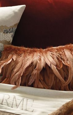 An adornment of layered plumage melds country chic with urban vogue. The 100% linen pillow cover is swathed in copper-hued tail feathers and includes a hidden zipper closure for easy access to the plush down insert.