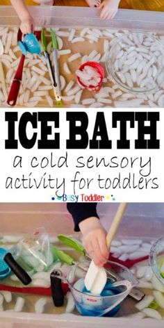 ICE BATH FUN: a cold sensory toddler activity