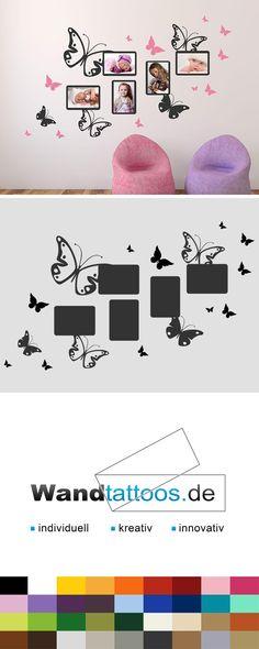 Wandtattoo Schmetterlinge mit Fotorahmen als Idee zur individuellen Wandgestaltung. Einfach Lieblingsfarbe und Größe auswählen. Weitere kreative Anregungen von Wandtattoos.de hier entdecken!