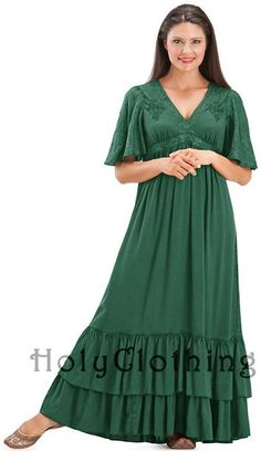Fleur Empire Waist Flutter Sleeve V-Neck Ruffled Gypsy Dress from holyclothing.com $44.99
