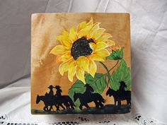Maple Wooden Jewelry box hand painted with a colorful sunflower, and silhouetted horses and riders on the lid by TrailRider on Etsy