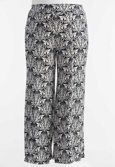 Cato Fashions Baroque Print Extreme Wide Palazzo Pants-Plus #CatoFashions