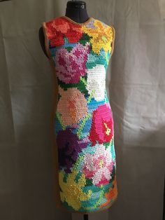 I love colourful yarns. This dress is inspired by all the different tulips at Chelsea Flower Show.