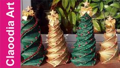 Cómo hacer un árbol de Navidad con papel de mimbre?