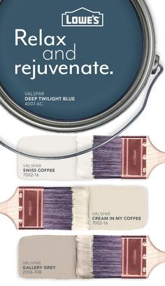 Start with Deep Twilight Blue, a smoky, saturated blue with shades of gray. Coordinate with Swiss Coffee, Cream in my Coffee and Gallery Grey for a beautiful finish. Swiss Coffee, Coffee Cream, My Coffee, Interior Paint Colors, Paint Colors For Home, Wall Colors, House Colors, Paint Color Combos, Paint Swatches