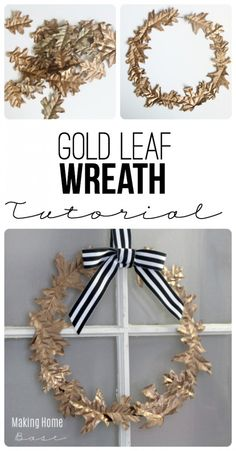 This Fall Wreath is made with faux leaves and a wire hanger. Such an easy DIY project for fall-- from Making Home Base. || @chelseacoulston