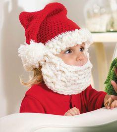 How To Make Santa Hat and Beard for Kids Online   JOANN Crochet Christmas Cozy, Crochet Santa Hat, Christmas Crochet Patterns, Christmas Knitting, Crochet Hats, Crochet Toddler, Crochet For Kids, Crochet Ideas, Toddler Christmas