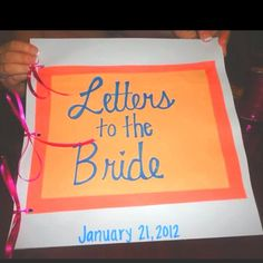 bukoladreamwedding:   The maid of honor could put this together. Have the mother of the bride, mother in law, bridesmaids, and friends of the bride write letters to the bride, then put them in a book so she can read them while getting ready the day of. The last page can be a letter from the groom. I hope my bridesmaids are this awesome