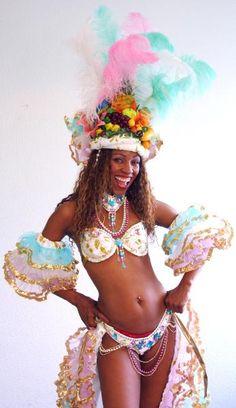 Samba Kostüm Carmen Miranda Costume Karneval Fasching Travestie weiß türkis flieder gold