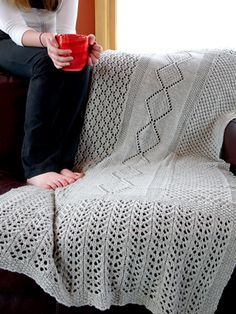 Lace blanket shawl by Denise Twum | Free knitting pattern on Tangled