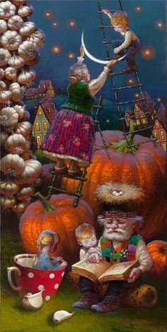 Art by Victor Nizovtsev. Imaginative Fantasy Art by Victor Nizovtsev. Imaginative Fantasy Art by Vic Christmas Illustration, Children's Book Illustration, Fantasy Kunst, Fantasy Art, Victor Nizovtsev, Moon Art, Whimsical Art, Oeuvre D'art, Cute Art