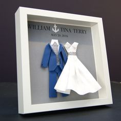 Personalized Wedding, Engagement, Anniversary, Bridal Shower Paper Origami Nautical Bride & Groom Shadowbox Frame Custom Gift by paintandpapercraft on Etsy
