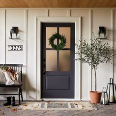 Front Door Decor Discover House Numbers Mounting Plate Black 5 Spaces - Hearth & Hand with Magnolia Farmhouse Front, Farmhouse Decor, Farmhouse House Numbers, Farmhouse Style, Modern Farmhouse, House Number Plates, Porte Cochere, Exterior House Colors, Black Trim Exterior House