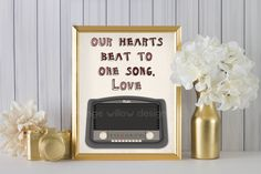 Our Hearts Beat to One Song LOVE (255AOWD) 8x10 Art Printable Retro Radio Vintage Style Radio Music Love Song Art Print Wedding Groom Bride by OrangeWillowDesigns on Etsy