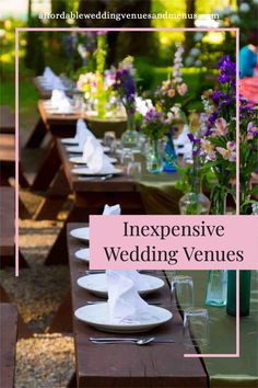 """Normally we try to avoid the word """"cheap"""". We'll say we want an inexpensive venue. Or we want to be practical, thrifty, sensible. We want to stick to our budget! All true. But what it really comes down to: if you're on a budget, you need a cheap wedding venue. The real trick is finding one that doesn't look cheap. Read about: how to find affordable wedding venues, budget wedding ideas, DIY wedding ideas, wedding venue ideas, small wedding budget, wedding food ideas on a budget."""