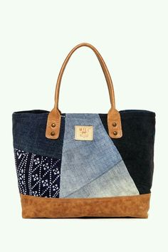 Will Leather Goods Batik Patchwork Tote - ShopStyle Sacs Tote Bags, Tote Purse, Tote Handbags, My Bags, Purses And Bags, Recycled Denim, Patchwork Bags, Denim Bag, Fabric Bags