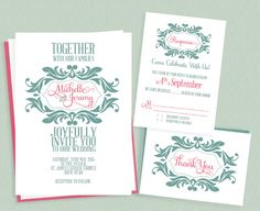 FREE PDF Downloads. Stylized Monogram Invitation + RSVP + Thank You card for Mint and Pink Wedding. Easy to edit and print at home - for DIY Brides.