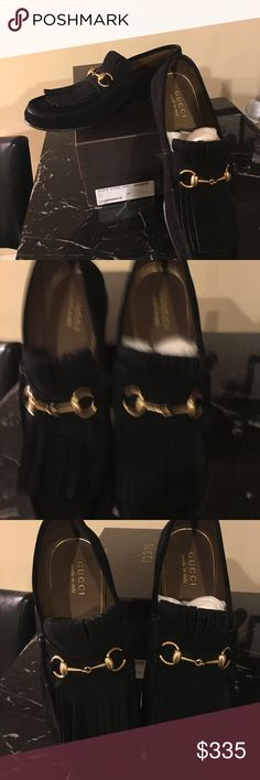 Gucci shoes men's 10.5 fits like 11 Black Suede Gucci Nero Black Suede Nero Kilte Flap Gucci Shoes Loafers & Slip-Ons