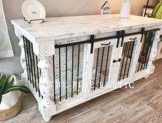 The Fine Rustic by TheFineRustic on Etsy Dog Crate Table, Wooden Dog Crate, Diy Dog Crate, Dog Crate Furniture, Dog Crates, Furniture Design, Furniture Plans, Custom Dog Kennel, Diy Dog Kennel