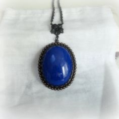 Cobalt Blue Stone Necklace Smooth Royal Blue by pink80sgirl, $53.00
