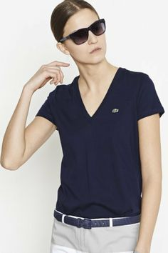 Lacoste Short Sleeve Jersey V-neck T-shirt : Tops