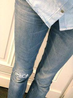 Jeans mit Spitze flicken