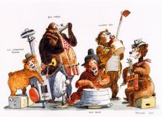 Marc Davis concept art for the Magic Kingdom's Country Bear Jamboree. ★ Find more at http://www.pinterest.com/competing/