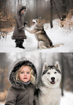 This girl and her husky in the snow. Beautiful.