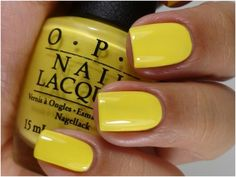 "Bright yellow! But they call it ""I Just Can't Cope-acabana"" * Opi Nail Lacquer 