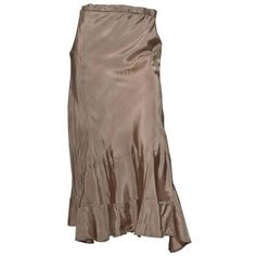 Pre-owned Comme des Garcons Taupe Drawstring Waist Skirt ($475) ❤ liked on Polyvore featuring skirts, a-line skirts, bias-cut skirt, wet look skirt, brown skirt, below knee skirts and knee length a line skirt