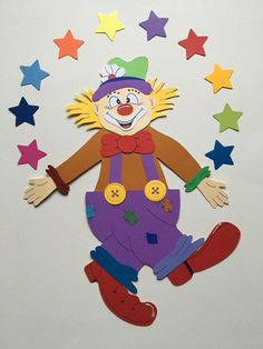 Hoasenda - Welcome my page Clown Crafts, Carnival Crafts, Circus Party Decorations, School Decorations, Classroom Art Projects, Classroom Decor, Camera Crafts, Clown Party, Birthday Charts