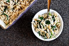 3 cheese orzo and spinach ~ recipe ~ side dish ~ vegetarian ~ howsweeteats.com